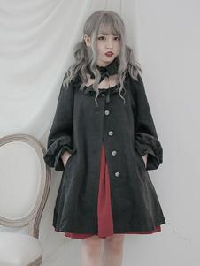 Chaqueta de Lolita clásica Fantasía con volante abotonada Chaqueta de Lolita negra
