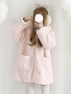 Классическое полосатое пальто Lolita Polar с капюшоном Lolita Winter Coat