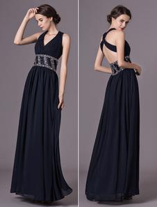 Abiti da sera neri Scuro Navy Incrociato Chiffon Perline Piano Prom Dress