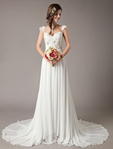 فساتين زفاف الشاطئ عام٢٠١٩ العاج الرباط الشيفون مطرز الزهور الصيف فستان الزفاف