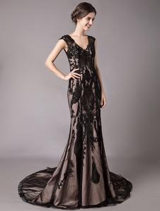 Vestidos de novia negros Sirena Cuello en V Sin mangas Capilla tren Vestidos de noche formales