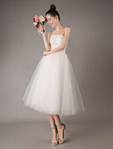Abito da sposa economico 2020 Abiti da sposa vintage corto in tulle senza spalline da cerimonia nuziale