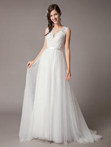 Свадебные платья Кружевной тюль Ivory V Neck Line Beach Bridal Gowns