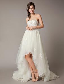 ارتفاع منخفض فساتين الزفاف حمالة الدانتيل تول القوس شاح غير متناظرة الصيف بيتش فستان الزفاف
