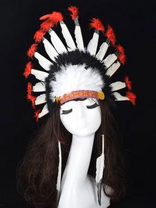 Disfraz Carnaval Sombrero de plumas nativo americano accesorios de disfraces tocado de acción de gracias Carnaval