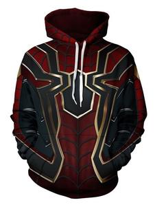 Carnevale Cosplay Felpa con cappuccio 2020 Marvel Comics Avengers 3 Spiderman Halloween