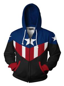 Carnevale Felpa con cappuccio Marvel Movie Captain American Halloween Cosplay