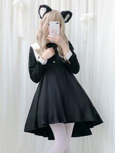 القوطي لوليتا اللباس OP عام٢٠١٩ مطوي اثنين من لهجة القوس الأسود لوليتا اللباس قطعة واحدة