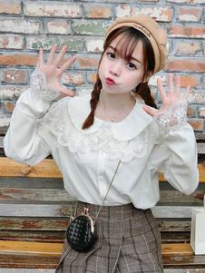 Lolita Doce Camisa Renda Chiffon Branco Lolita Blusa
