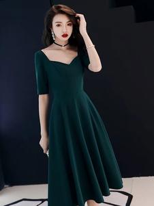 Коктейльные платья Темно-зеленый Половина рукава Королева Энн Шея Линия чая Длина Свадебное платье для вечеринок
