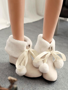 Sweet Lolita Boots Furry Pom Pom Suede Lolita Shoes