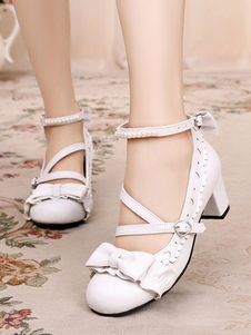Sweet Lolita Shoes Bow Pearl Strappy PU Puppy Heel Lolita Pumps