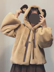 Abrigo de Lolita dulce Chaqueta de invierno con capucha Lolita Oso de oso con capucha marrón
