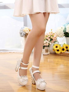 الحلو لوليتا أحذية معدنية برشام القوس Strappy إبزيم منصة مكتنزة عالية الكعب لوليتا الأحذية