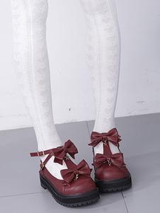 Lolita doce sapatos Starlet Bow PU Lolita calçado