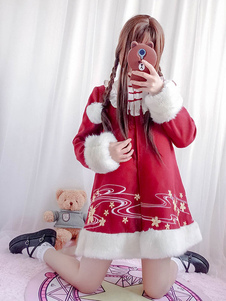 Estilo chino Lolita abrigo borla bordado peludo dos tonos rojo Lolita abrigo de invierno