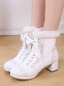 Sweet Lolita Boots Bow Frill Furry Chunky Heel White Lolita Обувь