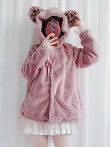 Dulce Lolita Abrigo Oreja Con Capucha Bowknot Rosa Lolita Abrigo de invierno