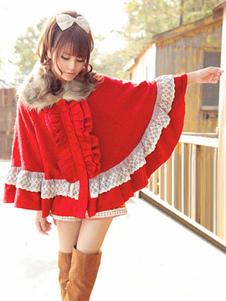 Poncho dulce de Lolita abrigo de encaje volante volantes rojo lana Lolita Cape