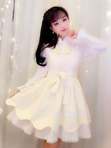 Китайский стиль Lolita OP Платье Tassel Ruffle Two Tone Cotton Lolita One Piece Dress
