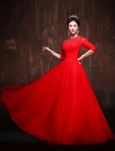Vestidos de quinceañera rojos Keyhole Lace Tulle manga media Maxi Luxury Women Pageant vestido de fiesta