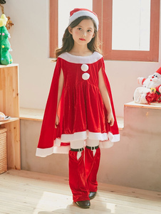 O traje do Natal caçoa o chapéu do short dos vestidos do equipamento 3 partes ajustadas para as meninas Halloween