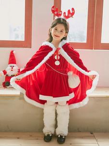 A capa vermelha do traje do Natal do casaco das crianças levanta para as meninas Halloween