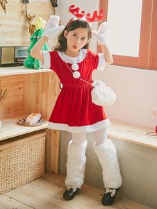O traje do Natal caçoa luvas dos sacos dos vestidos do equipamento 3 partes ajustadas para as meninas Halloween