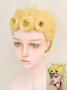 Причудливое приключение Джоджо «Золотой ветер» Giorno Giovanna Halloween Cosplay Wig Хэллоуин