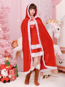 Traje de capa de Natal vermelho Papai Noel capa com capuz Ups para mulheres Halloween