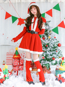 Vestidos de Natal Red Santa Claus Costume Set For Women Halloween
