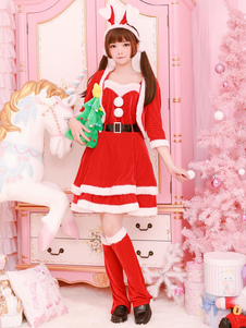 Traje de Natal vermelho Papai Noel veste roupa 5 peça Halloween