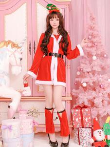 Natal Papai Noel Traje De Manga Longa Mulheres Vermelhas Outfit Halloween