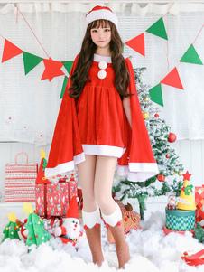 Рождественский костюм Санта-Клаус Красное платье с длинным рукавом и шляпа Хэллоуин