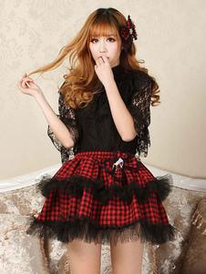 Gonna Lolita classica in pizzo Lolita SK con fiocco rosso in pizzo arricciato
