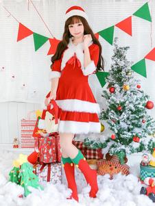 Vestidos de Natal Red Santa Claus Costume Set Hat Jacket 3 Piece Halloween