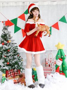 Рождество Санта-Клаус Костюм Красная Женская Верхняя Юбка Комплект Пояса 3 Шт. Хэллоуин