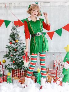 Árvore de Natal Traje Verde Mulheres Vestidos Meia-calça Sash Hat Set Set 4 Halloween