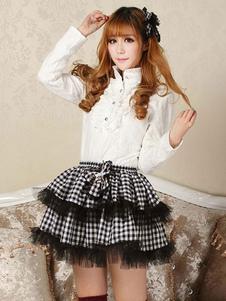 Gonna Lolita classica Lolita SK in pizzo nero con fiocco arricciato