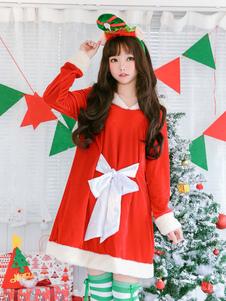 Costume Carnevale Abiti natalizi rosso Manica corta da Babbo Natale  Costume Carnevale