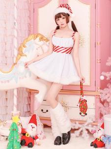 عيد الرعبعيد الميلاد سانتا كلوز زي الأبيض فساتين قبعة الساق أدفأ الزي للنساء