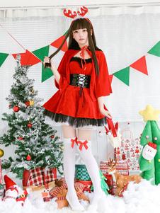 عيد الرعبنساء عيد الميلاد فساتين حمراء سانتا كلوز حلي مجموعة