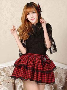 Lolita clássico SK laço Ruffle Bow Red Lolita saia