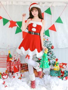 Natal, deslizamento, vestidos, vermelho, papai noel, traje, jogo Halloween