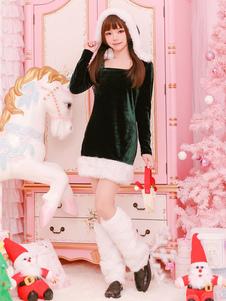 Traje de Natal verde manga comprida vestido curto com aquecedor de perna Halloween