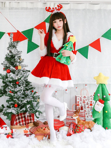 Рождественский костюм Санта-Клауса Красное платье и пояс Хэллоуин