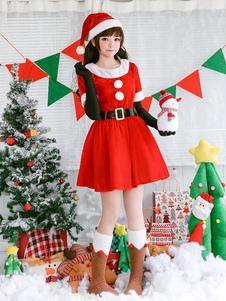 Рождественский костюм Санта Клаус Платья Наряд Перчатки Шляпа Створки Набор 4 шт Хэллоуин