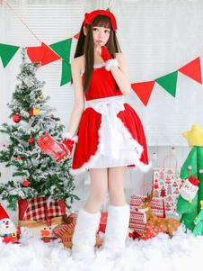 Traje de Natal Papai Noel Vestidos Outfit Luvas Headpiece 3 Peça Set Para As Mulheres Halloween