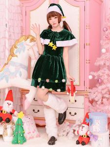 Vestidos curtos verdes do traje da árvore de Natal ajustados para mulheres Halloween