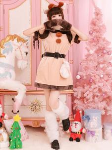 Traje de Natal Papai Noel marrom mulheres vestido luva Sash Outfit Halloween